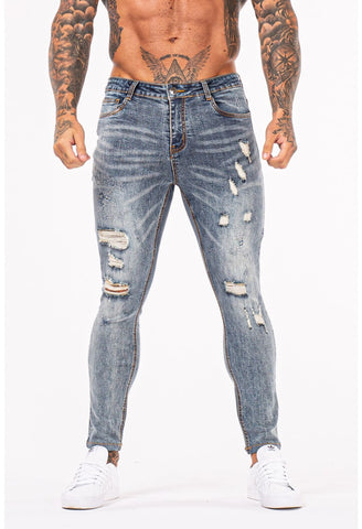 MENS GT SERIES LIGHT BLUE RIPPED SKINNY JEANS - GINGTTO