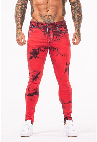 MENS GT SERIES RED PATTERN SKINNY JEANS - GINGTTO