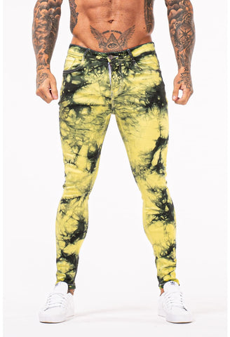 MENS GT SERIES YELLOW PATTERN SKINNY JEANS - GINGTTO