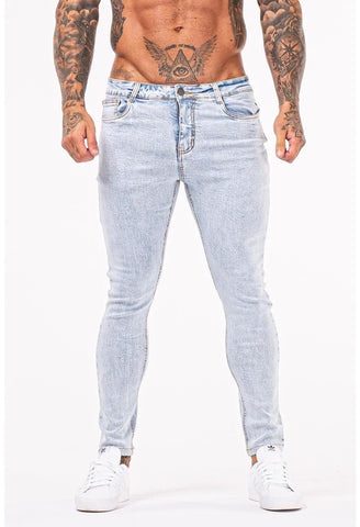 MENS LIGHT BLUE STYLISH SKINNY JEANS - GINGTTO