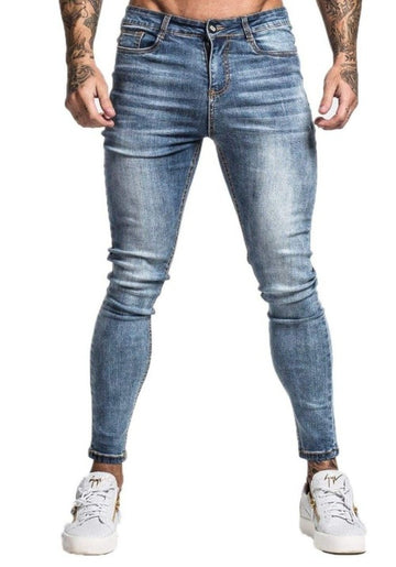 MENS MID BLUE SKINNY FIT JEANS - GINGTTO