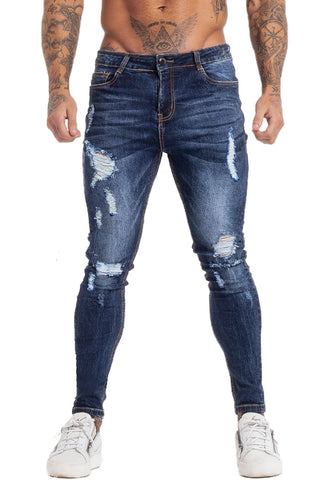 MENS RIPPED BLUE SKINNY JEANS - GINGTTO