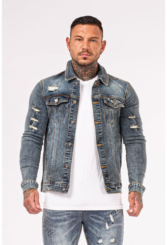 Mens Ripped Blue Stylish Denim Jacket - GINGTTO