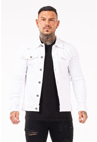 Mens White Stylish Denim Jacket - GINGTTO