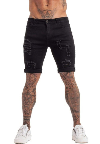 Ripped Short Jeans Black - GINGTTO