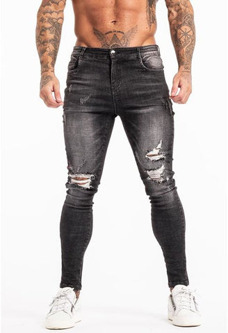 RIPPED SKINNY JEANS MEN - GINGTTO
