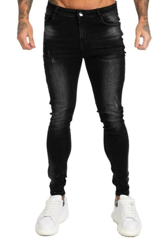 SKINNY FIT JEANS MENS BLACK - GINGTTO