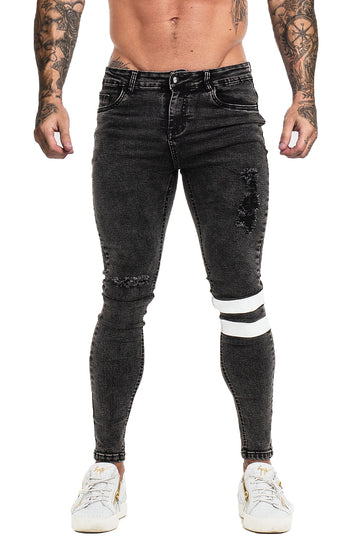 MENS BLACK SKINNY JEANS RIPPED