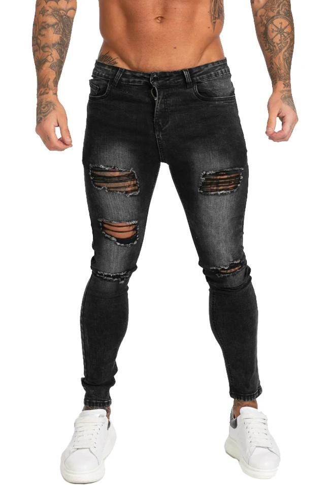 KNEE RIPPED JEANS MENS SKINNY - GINGTTO