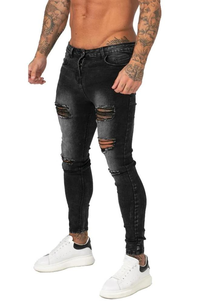 KNEE RIPPED JEANS MENS SKINNY