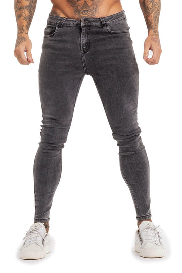 MENS GREY SKINNY JEANS - GINGTTO