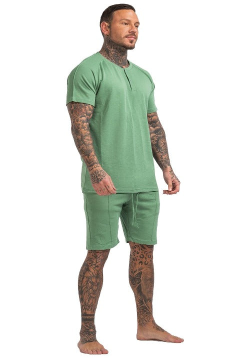 MEN'S PAJAMA SET SHORT HENLEY SHIRT GREEN
