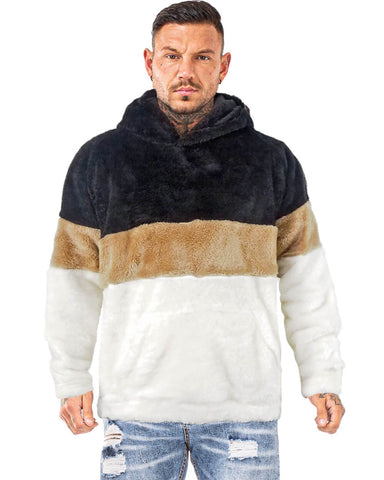 Mens colorblock sherpa pullover hood Gold