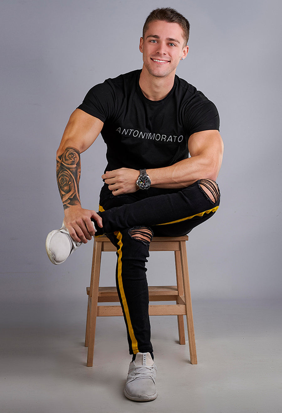 Mens Skinny Ripped Black Jeans