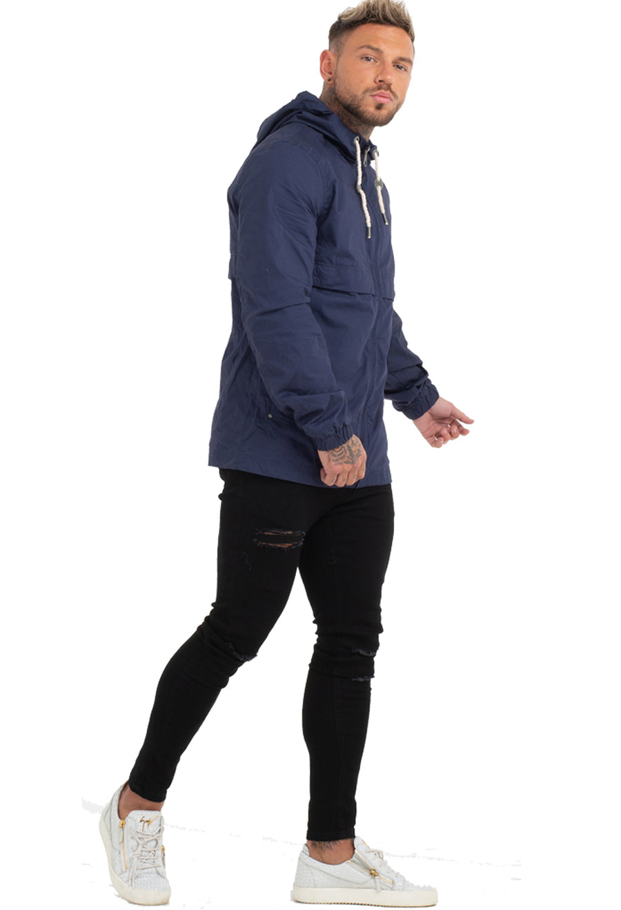 Hooded Long Windbreaker
