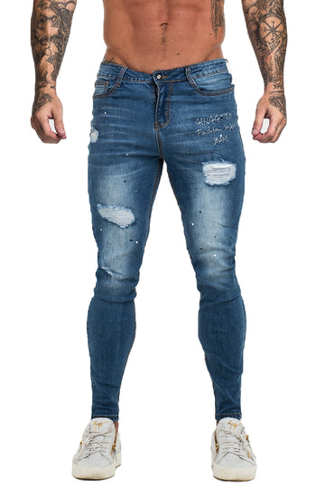 SKINNY RIPPED JEANS MENS BLUE