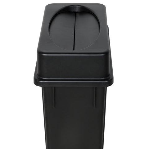 Lavex Janitorial Slim Black Trash Can W/ Black Swing Lid (23 Gallon)