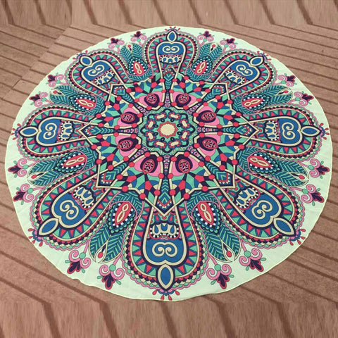 Be Happy Today! Enjoy Yoga or Beach Days on our Mandala Print Round Beach Towel