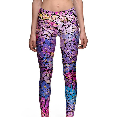 Black Yoga Pants are BORING! Be Happy with our Rainbow Ice Block Print High Waist Yoga Pants