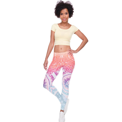Black Yoga Pants are BORING! Express yourself with our Ombre Rainbow Mandala Print High Waist Yoga Pants