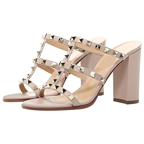 Comfity Mules For Women,Rivets Slippers Rockstudded Block Heels Hollow Out Slingback Sandals