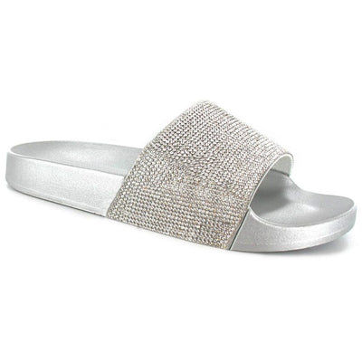 SUGAR ISLAND Ladies Glitter Diamante Sliders