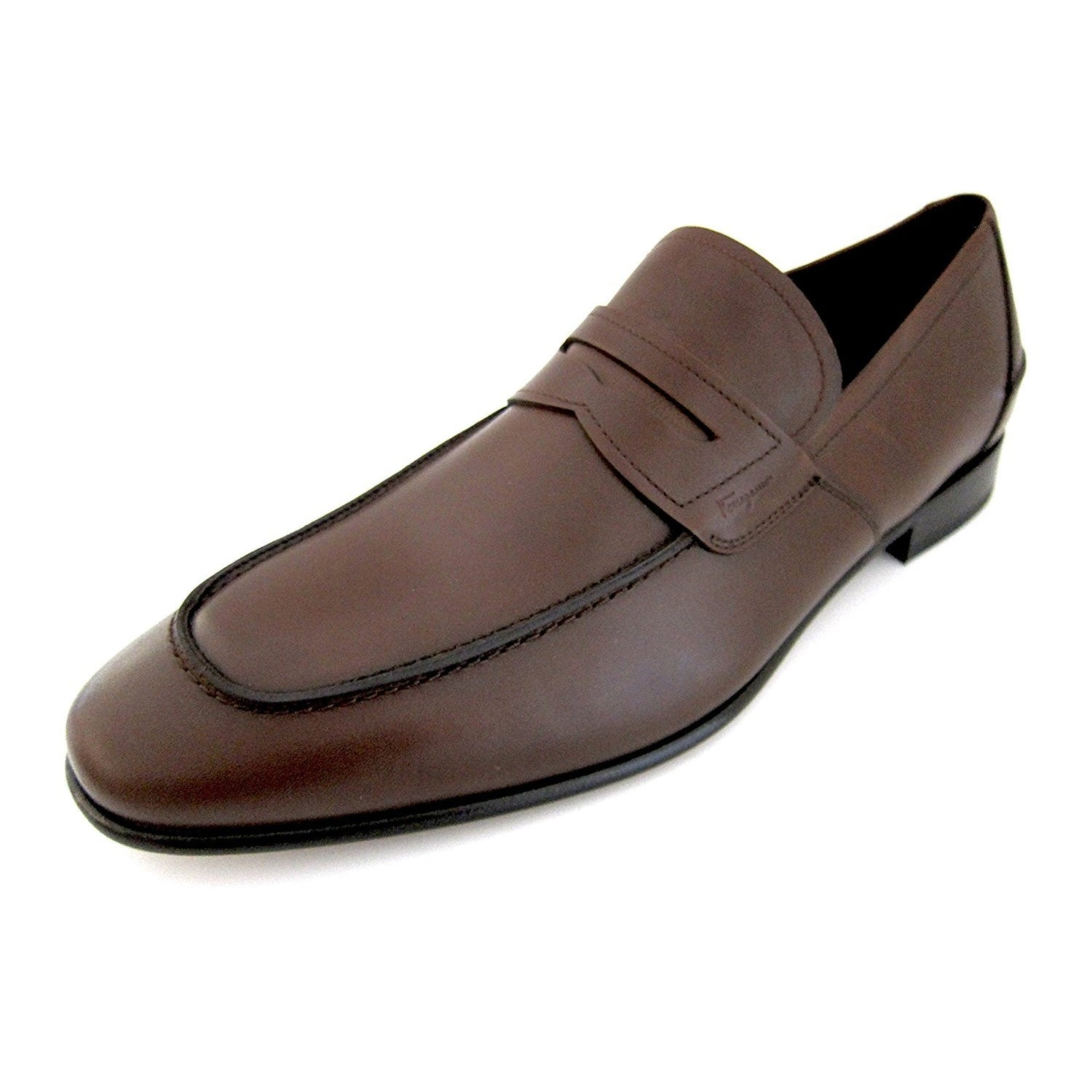 Salvatore Ferragamo Derry Mens Brown Leather Loafers Shoes Made In Italy