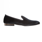 Plain Black Velvet Loafers - Men