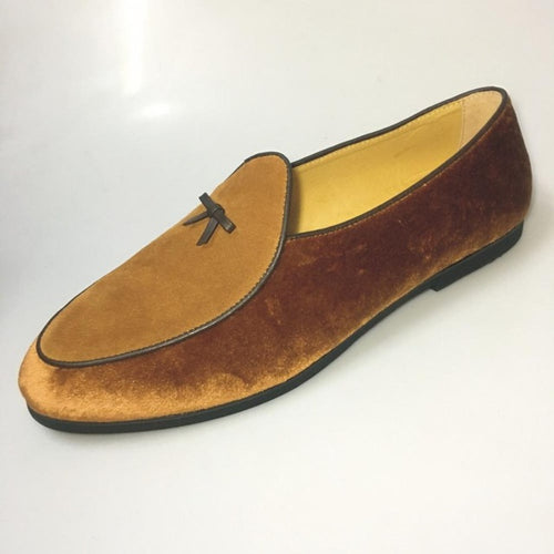 Journey West Mens Brown Belgian Suede Loafers