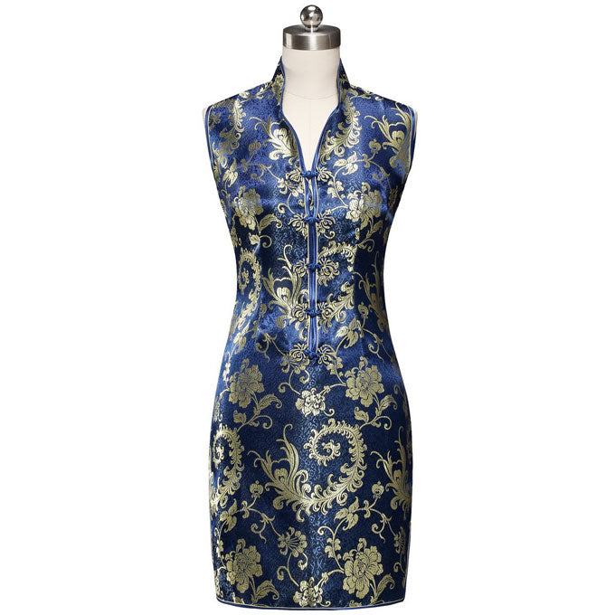 5460f253 V Neck Paisley Pattern Brocade Cheongsam Chinese Dress – IDREAMMART