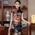 Cap Sleeve Rayon Cheongsam Floral Mini Chinese Dress