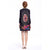 Long Sleeve Knee Length Floral Chinese Style Wind Coat with Strap Buttons