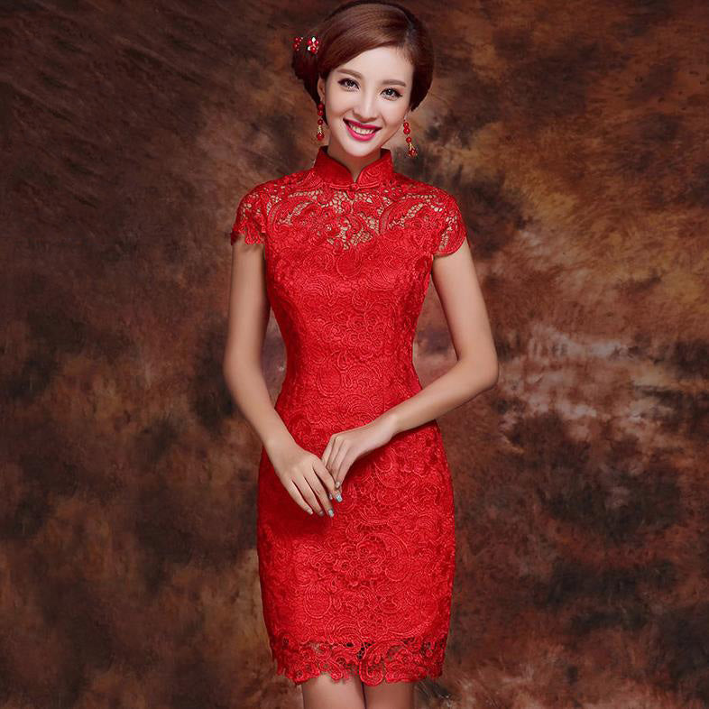 66d44366b4192 Mandarin Collar Illusion Neck Lace Chinese Wedding Party Dress – IDREAMMART