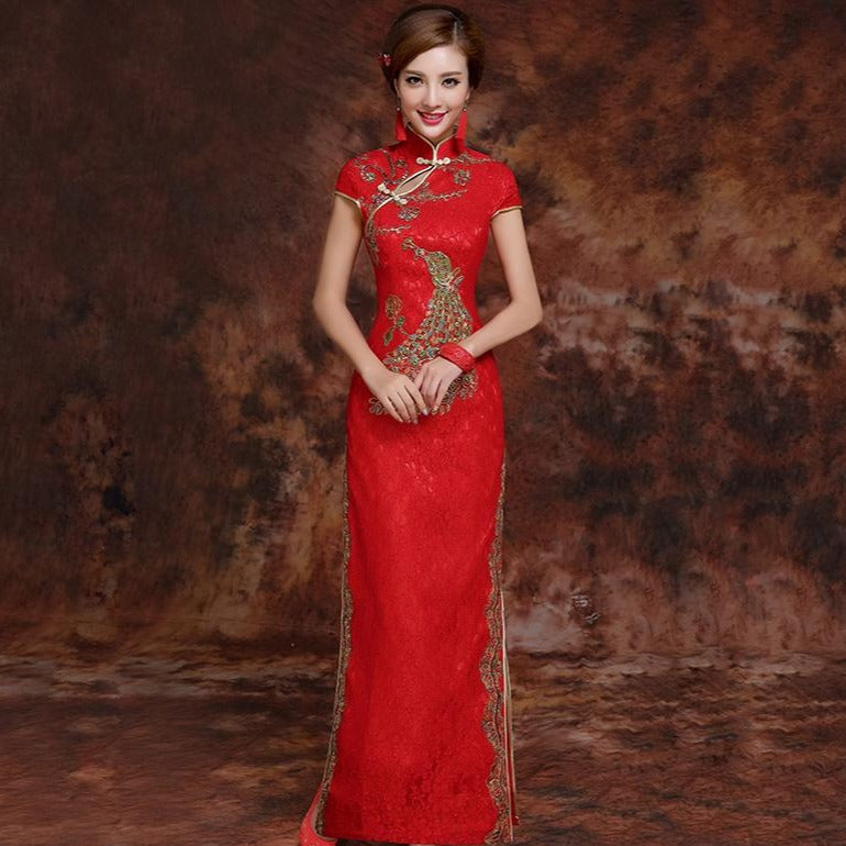 127933215 Phoenix Embroidery Brocade Cheongsam Chinese Wedding Dress – IDREAMMART