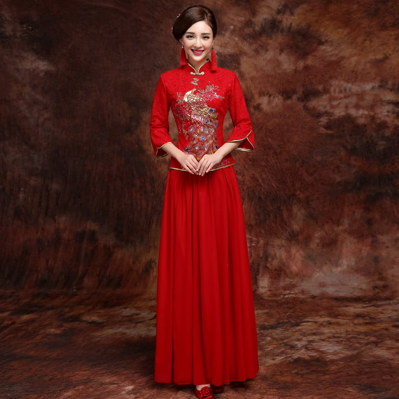 Chinese Wedding Dress.Phoenix Sequins Lace Cheongsam Top Chinese Wedding Dress