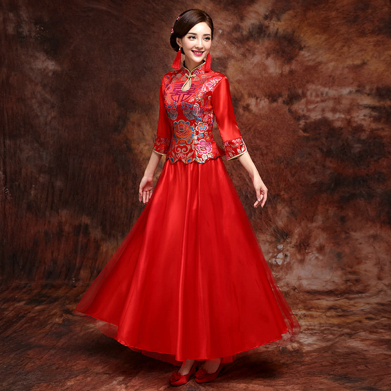 Mandarin Duck Pattern Long Sleeve Top Chinese Wedding ...
