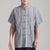 Short Sleeve Strips Pattern Linen Chinese Kung Fu Shirt