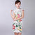 Cap Sleeve Floral Rayon Knee Length Cheongsam Chinese Dress