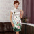 Cap Sleeve Knee Length Traditional Floral Cheongsam Chinese Dress