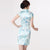 Knee Length Floral Rayon Cheongsam Chinese Dress