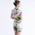 Fancy Cotton Knee Length Floral Cheongsam Chinese Dress