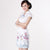 V Neck Floral Fancy Cotton Cheongsam Chinese Dress
