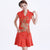 Phoenix Sequins Fancy Cotton Cheongsam Knee Length Chinese Dress