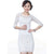 Round Neck Half Sleeve Lace Cheongsam Chinese Dress