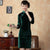 3/4 Sleeve Knee Length Velvet Traditional Cheongsam Chinese Dress