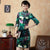 3/4 Sleeve Knee Length Floral Velvet Cheongsam Chinese Dress