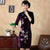 3/4 Sleeve Knee Length Velvet Cheongsam with Floral Embroidery