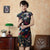 Cap Sleeve Knee Length Floral Velvet Cheongsam Chinese Dress