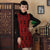 Fur Collar Velvet with Floral Lace Cheongsam Chinese Dress