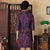 3/4 Sleeve Knee Length Floral Velvet Cheongsam Qipao Dress